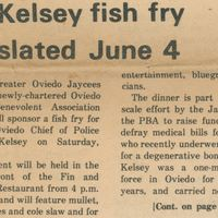 Kelsey Fish Fry Slated June 4
