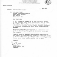 Letter from General Ben I. Funk to Dr. Calvin D. Fowler (May 14, 1963)