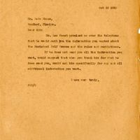 Letter from Joshua Coffin Chase to Sydney Octavius Chase (October 25, 1923)