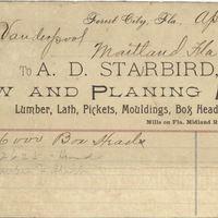 A. D. Starbird Receipt for Isaac Vanderpool (April 5, 1894)