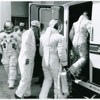 Astronauts Load into Transfer Van for Apollo 7 Launch Demonstration Test