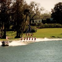 the water ski show at cypress gardens in june of 1989 billed as floridas first commercial tourist theme park cypress gardens opened on january 2 1936