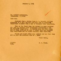 Letter from Joshua Coffin Chase to Corbett Hutchinson (January 5, 1931)