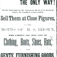 M. S. Brown Clothing Store Advertisement