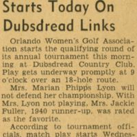 Women's Tourney Starts on Dubsdread Links