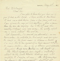 Letter from E. R. Trafford to Henry Shelton Sanford (May 12, 1883)