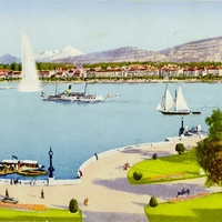 Geneva Harbor and Mont-Blanc Postcard
