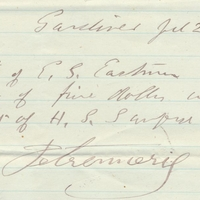 Receipt of Payment for Edwin G. Eastman (July 20, 1871)