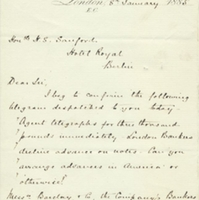 Letter from A. W. Macfarlane to Henry Shelton Sanford (January 8, 1885)