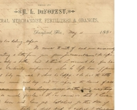 Letter from Henry L. DeForest to Anna M. Sperry DeForest (May 4, 1881)