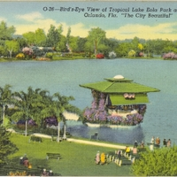 Bird's-Eye View of Tropical Lake Eola Park and Band Shell Postcard
