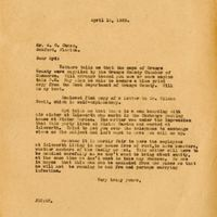 Letter from Joshua Chase to brother Sydney Chase (April 16, 1929)