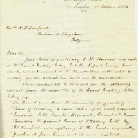 Letter from A. W. Macfarlane to Henry Shelton Sanford (October 3, 1884)