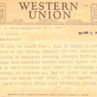 Telegram from Smith W. Purdum to James D. Beggs, Jr. (April 8, 1941)