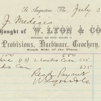 Receipt of Payment for E. J. Medicis from W. Lyon and Company (July 20, 1871)