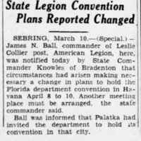 State Legion Convention Plans Reported Changed