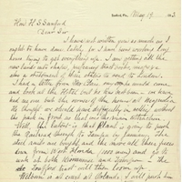 Letter from E. R. Trafford to Henry Shelton Sanford (May 19, 1883)
