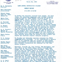 Lake Apopka Restoration Project Weekly Report (March 11 to 15, 1968)