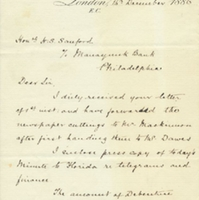 Letter from A. W. Macfarlane to Henry Shelton Sanford (December 15, 1886)