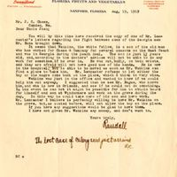 Letter from Randall Chase to Joshua Coffin Chase (August 9, 1919)