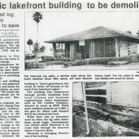 Historic Lakefront Building to Be Demolished: Deteriorated Log Cabin is Too Dangerous to Save