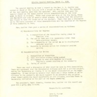 Minutes of Special Meeting, March 17, 1960