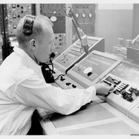 Dr. Calvin D. Fowler Using Launch Console at the Cape Canaveral Air Force Station Launch Complex 14 Blockhouse