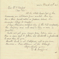 Letter from E. R. Trafford to Henry Shelton Sanford (March 29, 1883)
