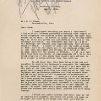 Letter from Sydney Octavius Chase to Joshua Coffin Chase (May 3, 1924)
