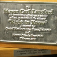 """Right to Know"" Award for Mayor Carl T. Langford"