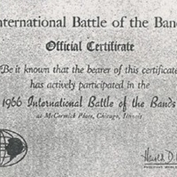 International Battle of the Bands Official Certificate