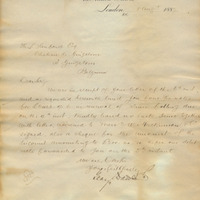 Letter from Gray Dawes and Company to Henry Shelton Sanford (August 8, 1887)