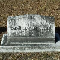 Headstone for Sarah Crawford Cullen at Conway United Methodist Church Cemetery