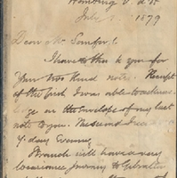 Letter from William MacKinnon to Henry Shelton Sanford (July 1, 1879)
