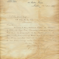 Letter from Gray Dawes and Company to Henry Shelton Sanford (April 23, 1887)
