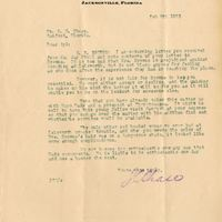 Letter from Joshua Coffin Chase to Sydney Octavius Chase (February 6, 1923)