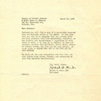 Letter from Robert W. Hunt to Members of Temple of Liberal Judaism (March 31, 1960)