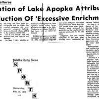 Rural Clean-Up Failures: Deterioration of Lake Apopka Attributed to Introduction of 'Excessive Enrichments'
